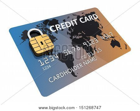 Generic credit card with security chip as padlock isolated on white , Secure internet shopping , Safe online banking , 3d illustration