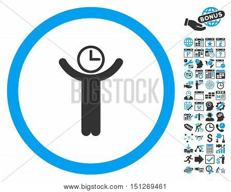 Time Manager pictograph with bonus calendar and time management symbols. Glyph illustration style is flat iconic bicolor symbols blue and gray colors white background.