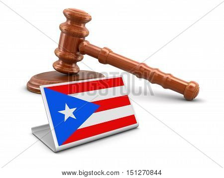 3D Illustartion. 3d wooden mallet and Puerto Rican flag. Image with clipping path