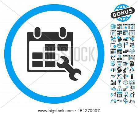 Wrench Configure Timetable icon with bonus calendar and time management images. Glyph illustration style is flat iconic bicolor symbols blue and gray colors white background.