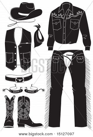 Vector Cowboy Clothes And Attributes On White.