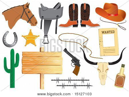 Vector Cowboy Clothes And Elements For Work And Life On White