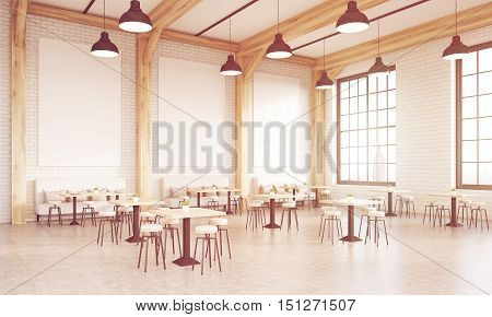 Sunlit Restaurant With Square Tables