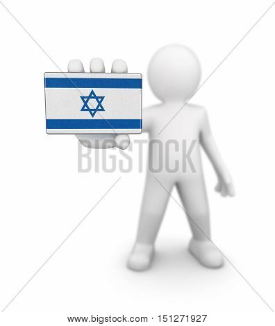3D Illustartion. Man and Israeli flag. Image with clipping path