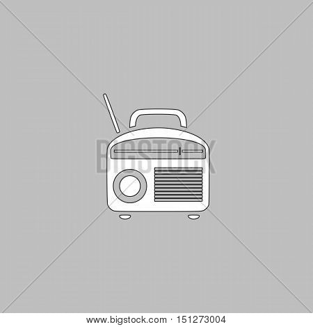 Radio Simple line vector button. Thin line illustration icon. White outline symbol on grey background