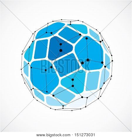 Abstract Vector Low Poly Object With Black Lines And Dots Connected. Blue 3D Futuristic Ball With Ov