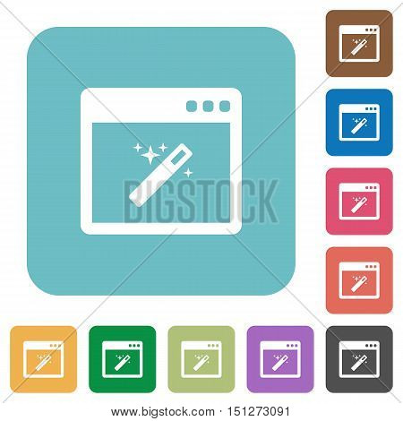 Flat application wizard icons on rounded square color backgrounds.