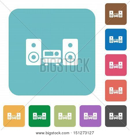 Flat stereo system icons on rounded square color backgrounds.