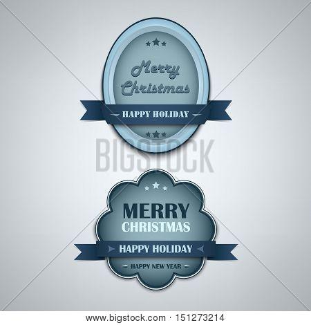 Christmas blue vintage retro design style element vector eps 10