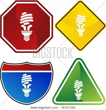 Energy saving light bulb icon web button isolated on a background.