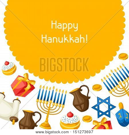 Jewish Hanukkah celebration card with holiday objects.