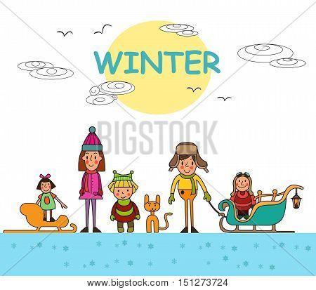 Set Kids in winter. Winter funny Kids. Winter holidays. Group of children-winter boys and girls. Vector set.
