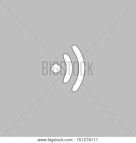 Wireless Simple line vector button. Thin line illustration icon. White outline symbol on grey background