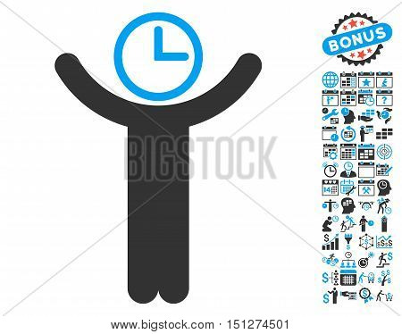 Time Manager pictograph with bonus calendar and time management design elements. Glyph illustration style is flat iconic bicolor symbols blue and gray colors white background.