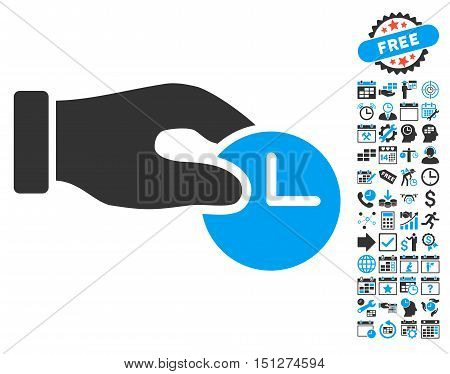 Time Properties Hand pictograph with bonus calendar and time management pictograph collection. Glyph illustration style is flat iconic bicolor symbols blue and gray colors white background.