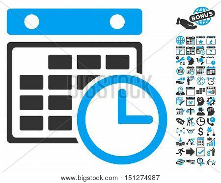 Timetable icon with bonus calendar and time management pictogram. Glyph illustration style is flat iconic bicolor symbols blue and gray colors white background.