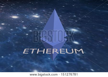 The sign cryptocurrency Ethereum on space background. 3D rendering.