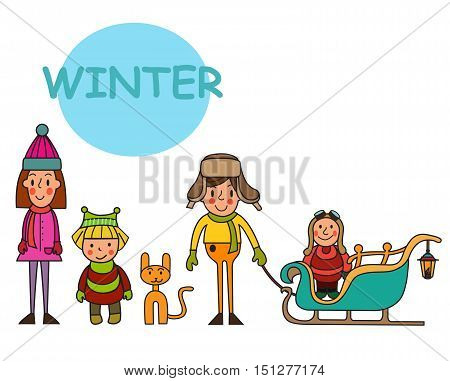 Group of children-winter boys and girls. Set Kids in winter. Winter funny Kids. Winter holidays. Vector set.