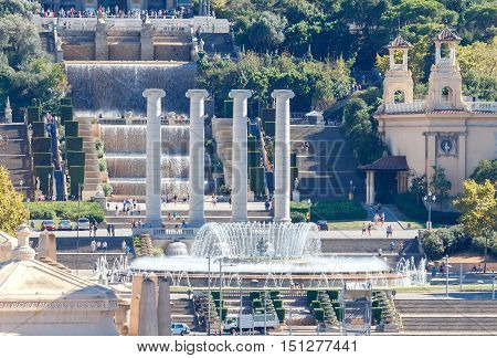 Cascades and the musical fountain at the Montjuic hill in the center of Barcelona. Catalonia.