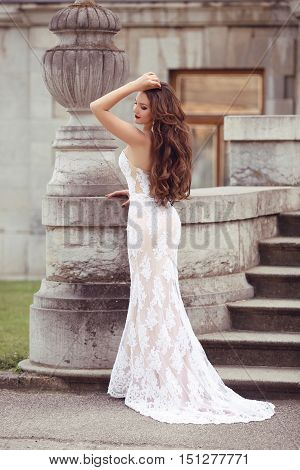 Elegant Bride Woman Wedding Portrait, Vogue Style Photo. Fashion Brunette Model Posing In White Merm