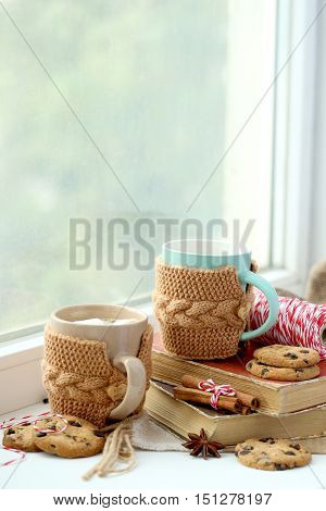 Cup Of Coffee On Windowsill Near The Window