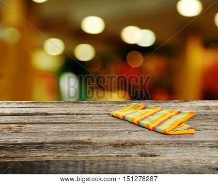 Background with the wooden table, close up