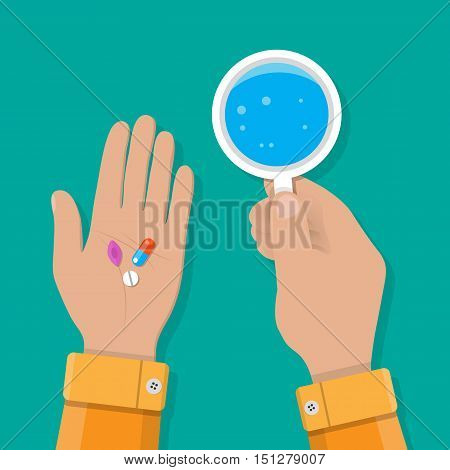 hand holds a glass of water and pills. taking pills, Healthcare, hospital and medical diagnostics. vector illustration in flat style