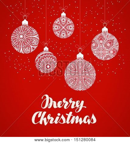 Merry Christmas. Xmas ball in decorative style. Vector illustration
