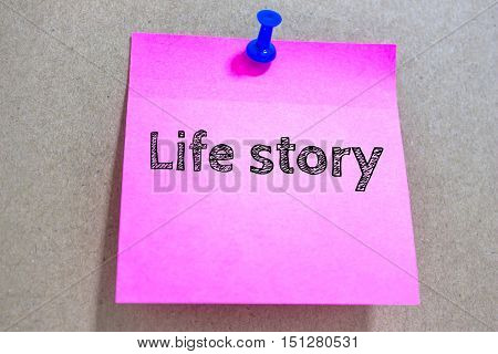 Text Life story on paper / business concept