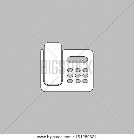 Office Phone Simple line vector button. Thin line illustration icon. White outline symbol on grey background