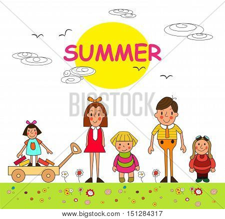 Group of children- summer boys and girls. Children summer vacation in park. Vector set of summer child's outdoor activities. Summer children. Kids playing outside.
