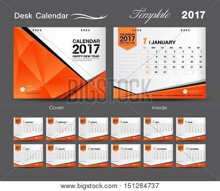 set Orange Desk Calendar 2017 template design, cover Desk Calendar, flyer design