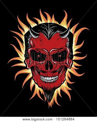 Terrible head of devil.Fire around him. Illustration for halloween