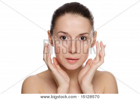 Beautiful Sexy Woman Applying Cosmetic Cream On Skin Near Eyes