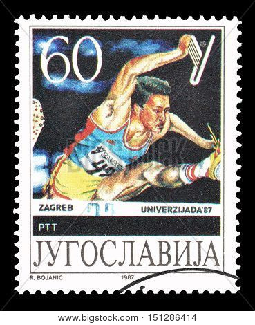 YUGOSLAVIA - CIRCA 1987 : Cancelled postage stamp printed by Yugoslavia, that shows Race with hurdles.
