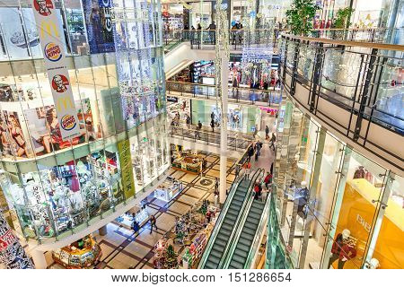 PRAGUE, CZECH REPUBLIC - DECEMBER 10, 2015: Interior of Palladium mall decorated for Christmas holidays - one of the biggest shopping centers in Prague, has 5 floors, 184 shops and 23 restaurants.