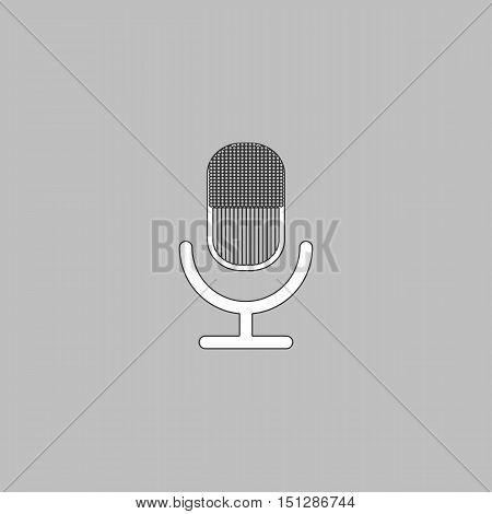 microphone Simple line vector button. Thin line illustration icon. White outline symbol on grey background