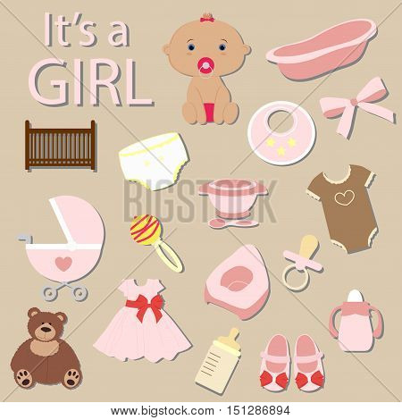 cute baby elements it's a girl. a big collection of icons. postcard Template for greetings and invitation. Baby shower and arrival. Baby vector illustration