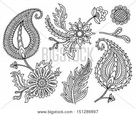 Adult coloring book with floral elements and flower. Vector set of colorful paisley elements. Indian, Persian traditional motives on white background. For your design.