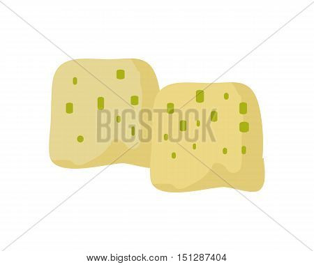 Piece of cheese isolated on white background. Natural farm food. Dairy product. Logo illustration. Vector illustration in flat style.