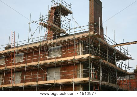 Scaffolding On Brick Building
