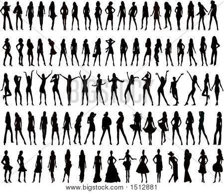 Hundreds Of People Silhouettes - Vectors