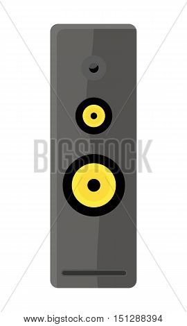 Illustration of gray computer audio speaker. Multimedia audio speaker for laptop, computer, sound system, mobile phones. Isolated object on white background. Vector illustration