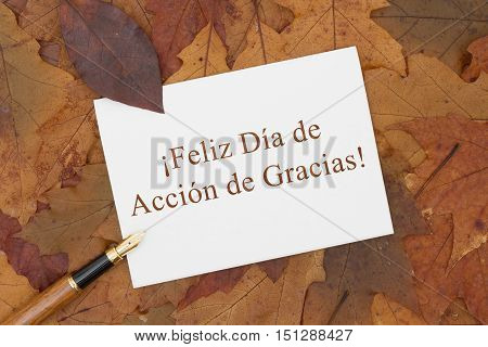 Happy Thanksgiving Greeting Card in Spanish Some fall leaves pen and a greeting card with text Feliz Dia de Accion de Gracias