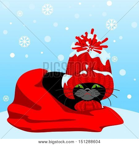 Winter landscape with snowflakes. Black cat in a red cap and a scarf wrapped in a red blanket and sleeping.