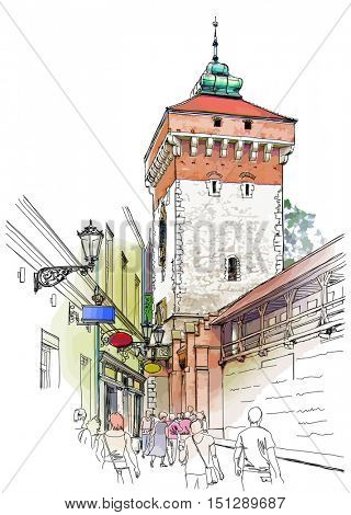 Krakow. Poland. Tower of city wall. Vector color illustration
