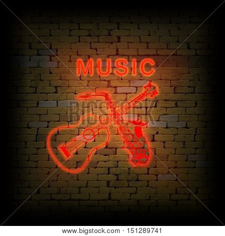The inscription music with guitar and saxophone neon light tubes in the old brick wall. It can be used as background with any image or text.