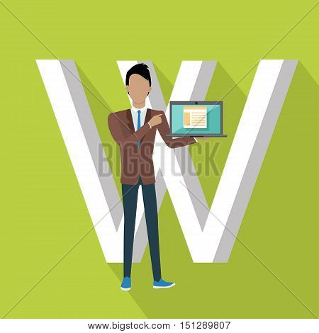 W letter and person working on laptop using Wi Fi. SEO concept in flat style. Human characters with computers and mobile devices working for content search engine optimization and designing sites
