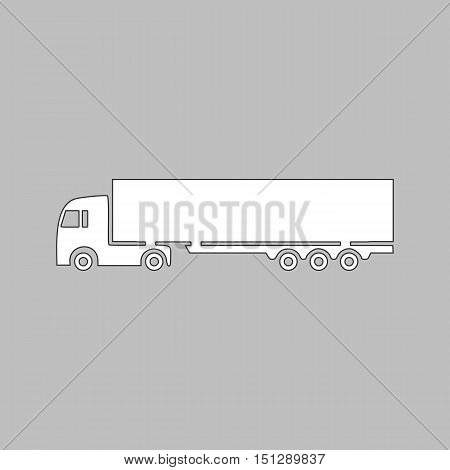 Big Truck Simple line vector button. Thin line illustration icon. White outline symbol on grey background