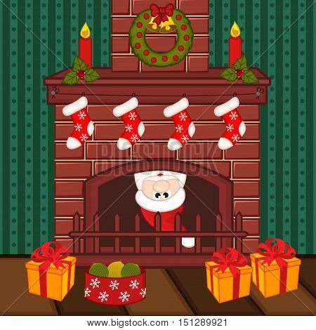 Santa Claus inside fireplace - vector illustration, eps